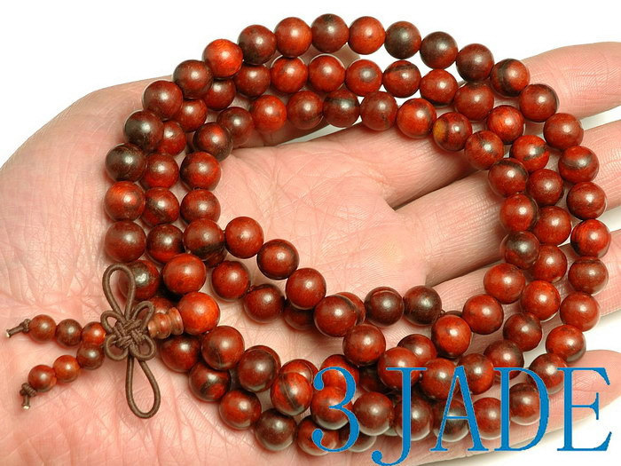 Free Shipping - Tibetan  8mm 100% natural Red sandalwood  meditation yoga 108  B