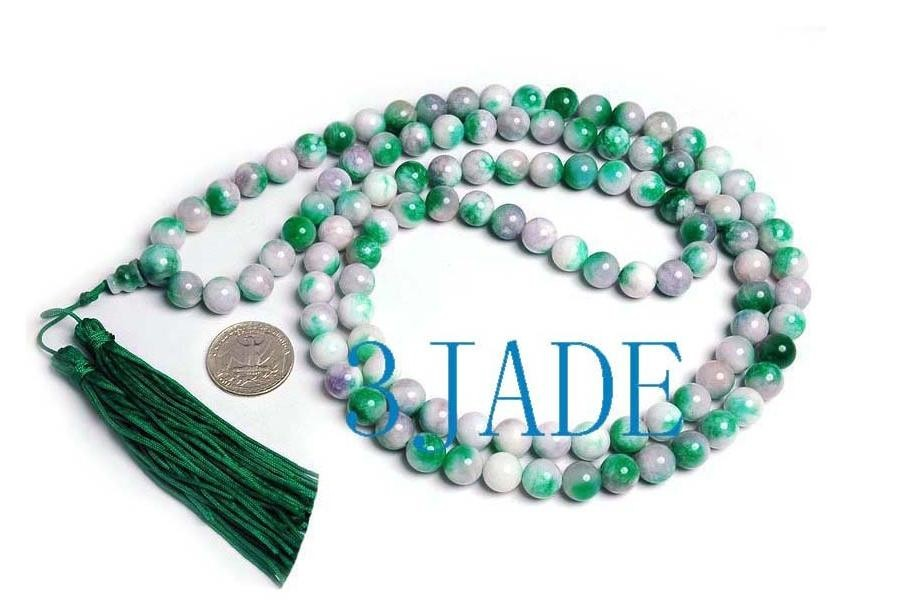 "Free Shipping -  42""  Tibetan Buddhist  Natural green Apple Jade Meditation Yoga"
