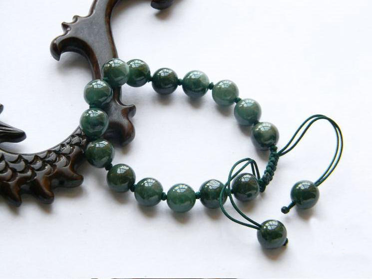 Free Shipping -  100% Nice Grade AAA Natural dark Green Jadeite Jade charm Brace
