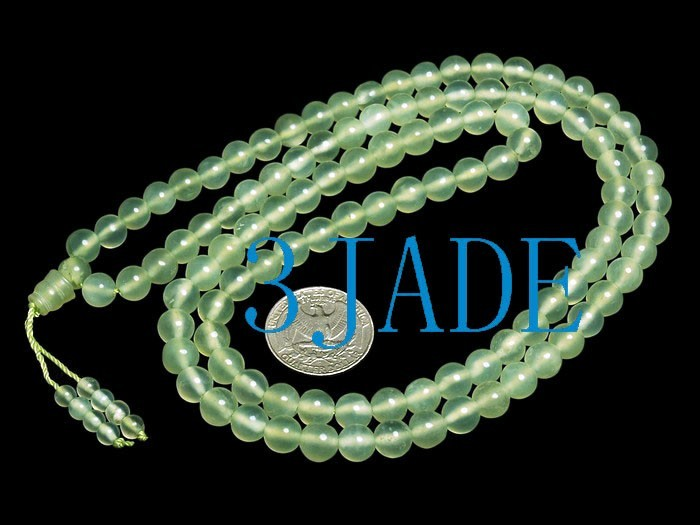 Free Shipping - Tibetan buddhist 37 Inches Natural Translucent green Jade Medita