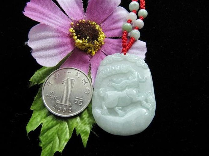 Free Shipping -good luck Amulet Natural green Jadeite Jade carved  Rabbit charm