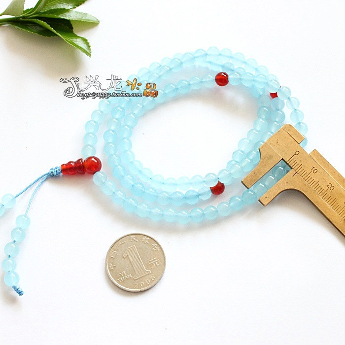 Free Shipping - 37 inches Tibetan Natural blue jade and Cornelian beads meditati