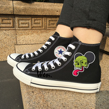 Fashion Sneakers Chuck Taylor Original Design Skull Canvas Shoes Converse Black - $119.00