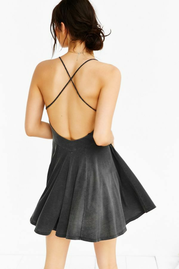 CXM x Urban Outfitters Washed Charcoal Gray Backless Ballerina Skater Slip Dress