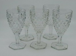 Water Goblet Vintage Fostoria Hex Base 6 7/8 Stemware American Pattern Set Of 5 - $43.99