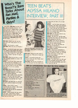 Alyssa Milano teen magazine pinup clipping interview part 2 Teen Beat