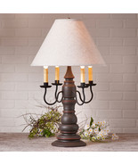 LARGE COUNTRY TABLE LAMP & IVORY SHADE Textured Espresso & Salem Brick F... - $370.21