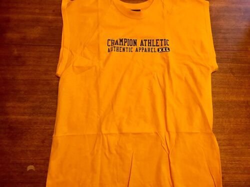 Primary image for VTG 90s CHAMPION Sport Spellout Tank Top Muscle Shirt Gym Yellow  - Men's Large