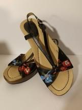 "Dansko Black Flowers Ankle Strap 3"" High Wedge Womens Sandals Size 38  US 8 - $23.36"