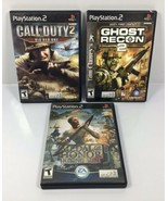 PS2 LOT of 3 MILITARY / WAR GAMES: Call of Duty 2, Ghost Recon 2, Medal ... - $23.70