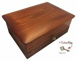 Extra Large Decorative Handmade Wood Box with Lock and Key Made in Poland - $79.19