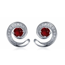 Women's Squirrel Design Stud Earrings 14k White GP 925 Silver Round Red Garnet - $42.60