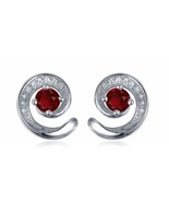 Women's Squirrel Design Stud Earrings 14k White GP 925 Silver Round Red ... - $42.60