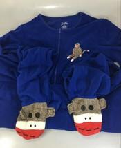Nick & Nora Womens 2XL Royal Blue Sock Monkey One Piece Fleece Footed Pa... - $33.81