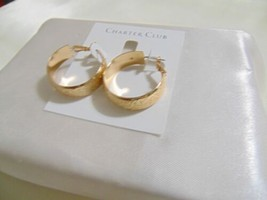 "Charter Club  1 1/2 "" Medium Gold-Tone Wide Textured Hoop Earrings H973 - $13.43"