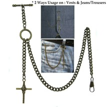 Albert Chain Pocket Watch Chain Brass Color 2 Ways Vests & Jeans Fob T B... - $17.99+