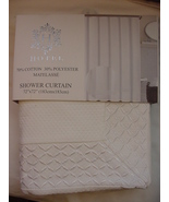 Hotel White Matelasse with Embroidered Lattice Inset Border Shower Curtain - $48.00