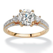 PalmBeach Jewelry 2.38 TCW Round CZ Ring in 18k Gold over .925 Sterling ... - $28.74