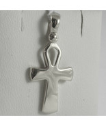 SOLID 18K WHITE GOLD CROSS, CROSS OF LIFE, ANKH, SHINY, 1.02 INCH MADE I... - £220.24 GBP