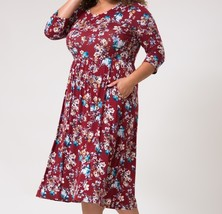 Plus Size Floral Dress, Plus Size Dress w Pockets, Dresses Plus Size, Burgundy