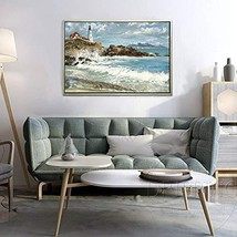 SoulSpaze Hand-Painted Modern Seaside Seascape Oil Painting on Canvas Se... - $118.79