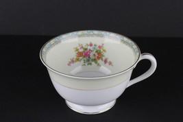 Noritake China Tea Cup Occupied Japan Floral Spray Blue Rim Acanthus Leaf - $22.77