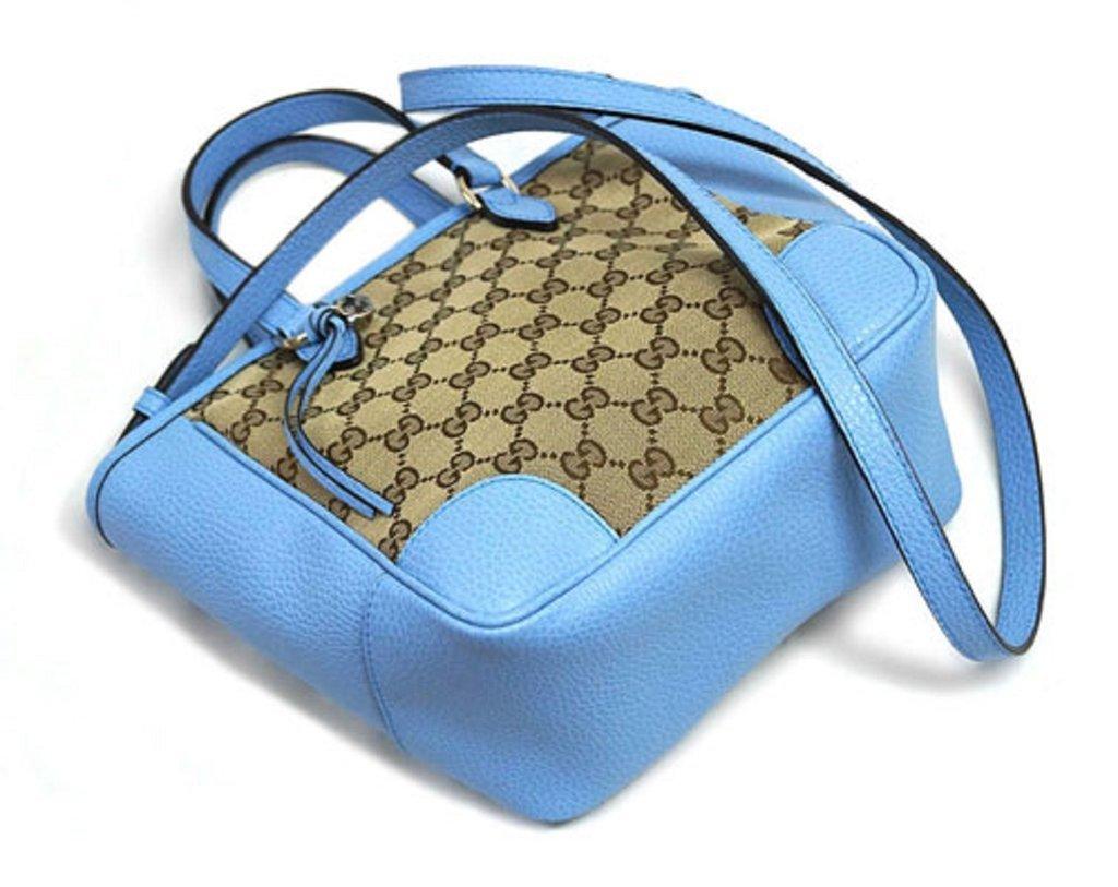 Gucci Original GG Calf Leather Beige Mineral Blue Tote Cross Body