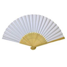 LOT OF 10 WHITE HAND FAN Folding Pocket Wedding Plain Bamboo Paper GOOD ... - $11.75