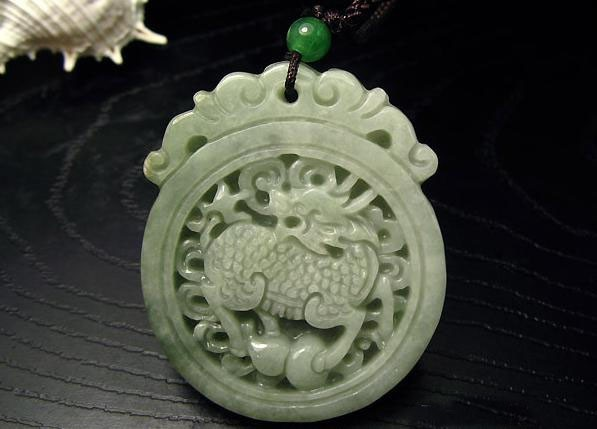 Free Shipping - good luck Amulet Natural Green jade carved  dragon Round Shape c