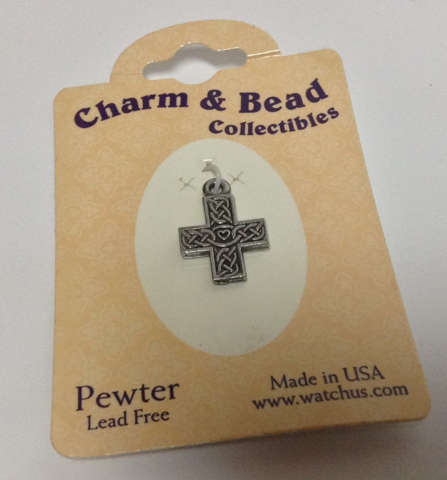 Pewter Celtic Cross Bracelet Charm NWT Charm & Bead Collectibles