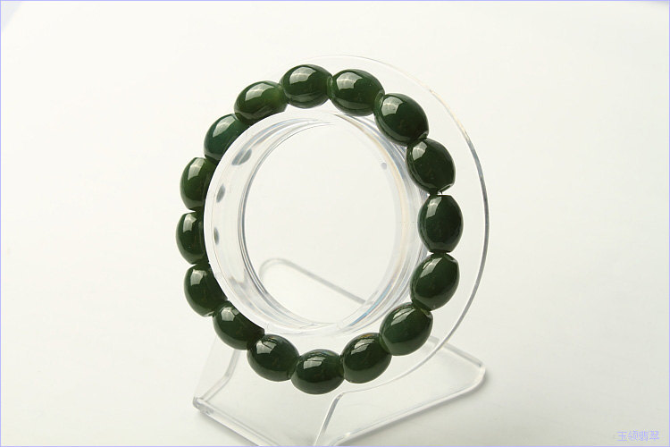 Free Shipping -   Grade AAA Natural dark Green jadeite Jade elliptic prayer bead