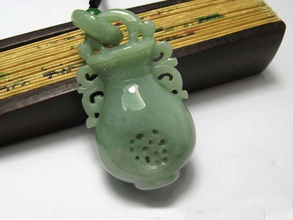 Free Shipping - HAND-CARVED Natural Green Jade Vase charm Pendant  / Necklace -