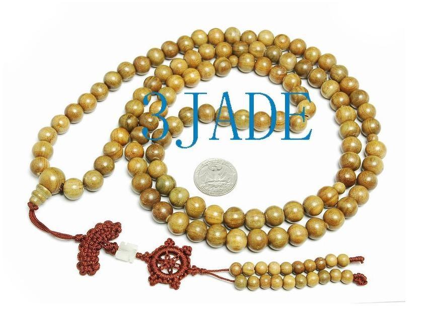 Free Shipping - 100% Natural yellow Sandalwood meditation yoga 108 Prayer Beads
