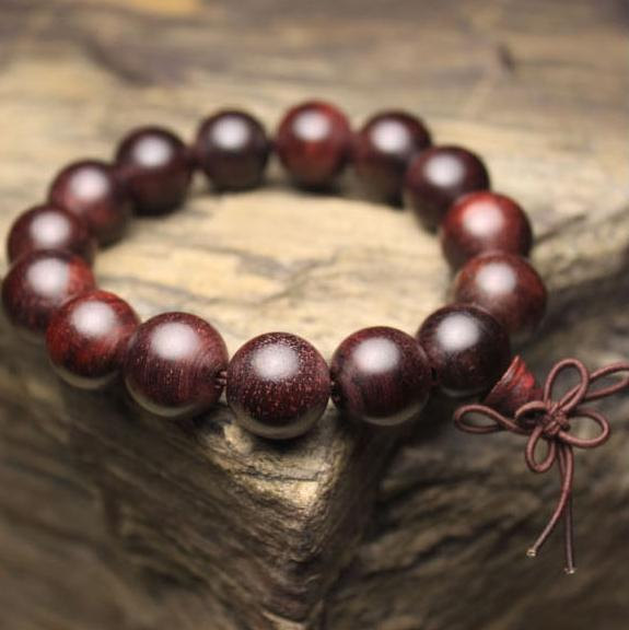 Free Shipping -  Hand Carved  natural DARK Red sandalwood Meditation yoga prayer