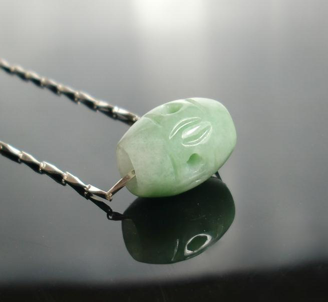 Free Shipping - Hand carved  Natural Green Jadeite Jade Football / Ball charm Pe