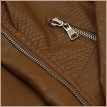 Retro Big Lapel Brown Faux Leather Oblique Zipper Motorcycle Jacket image 3