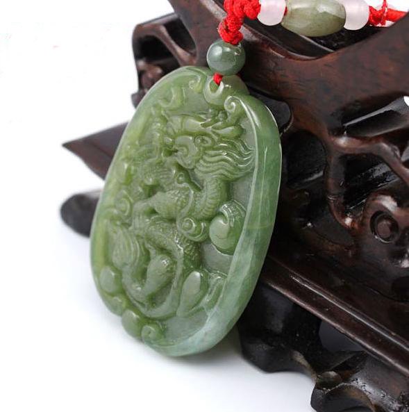 Free Shipping - 2012 Year  good luck Amulet Natural green Jadeite Jade carved Dr