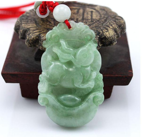Free Shipping -good luck Amulet Natural  green Jadeite Jade Rabbit charm Pendant