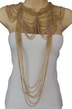 Women Gold Metal Long Fringes Necklace Wide Chains Wave Shouldrs Fashion... - $29.39