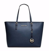 NWT MICHAEL KORS Jet Set Saffiano Leather Travel TopZip Tote Navy MSRP $278 - $246.05