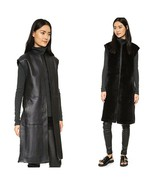 Helmut Lang Reversible Shearling and Leather Long Vest Black/Navy L - $429.00