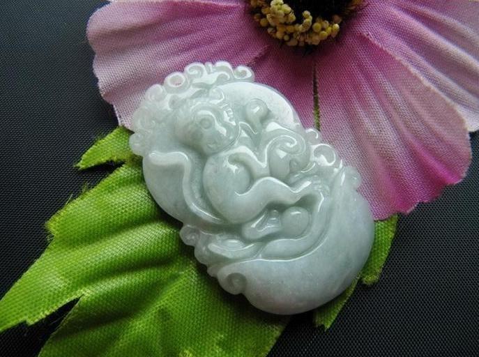 Free Shipping - auspicious  Amulet Natural light green Jadeite Jade Zodiac carve