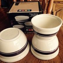 Nelson Mccoy StoneCraft 3 Piece Bowl Set Beige Brown Bands 1 Pint, 1& 1.... - $23.75