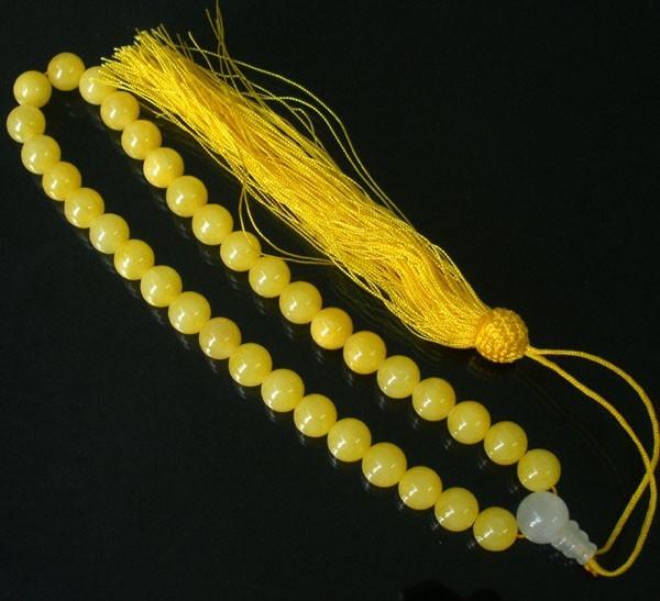 Free Shipping -  Natural yellow jade Meditation Prayer Beads charm Bracelet