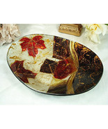 Murano Leaf Design Oval Deep Bowl Glassware Bowl - $14.26