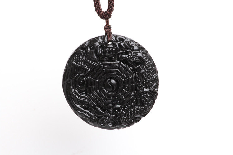 Free Shipping - good luck natural black jade carved  Dragon and Phoenix  charm P