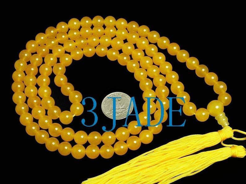 Free Shipping - Tibetan Natural Yellow jade meditation yoga 108 Prayer Beads Mal