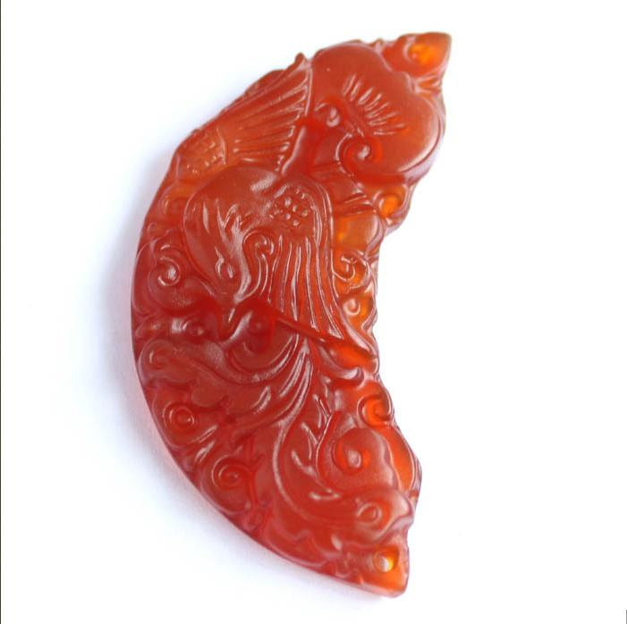 Free Shipping -   NATURAL red agate / Carnelian Carved Dragon Phoenix  Amulet  P