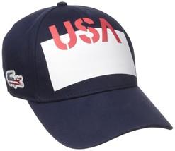 NEW LACOSTE MEN'S PREMIUM COTTON CROCODILE BASEBALL ADJUSTABLE  HAT CAP NAVY USA