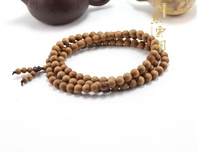 Free Shipping - 8mm Natural Yellow sandalwood Mala  Meditation yoga 108 prayer b